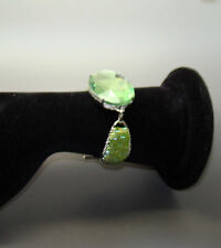 Bugle Bead Chartreuse/Green Iridescent & Gem Silver-Tone Toggle Closure Bracelet