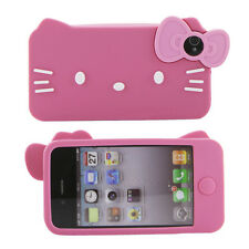 Apple iPhone 4 4S Pink Hello Kitty Cat Soft Silicone Rubber Gel Case Bow Cover