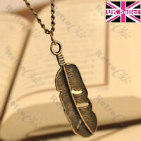 """BIG METAL FEATHER charm pendant NECKLACE 27""""long chain ETHNIC BOHO vintage brass"""