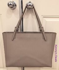 Tory Burch York Buckle Tote In French Gray Saffiano Leather MSRP $295 Genuine