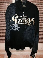 CHRISTIAN AUDIGIER MEN'S HOODIE SKULL BORN ON THE STREET LOS ANGELES L BLACK NEW