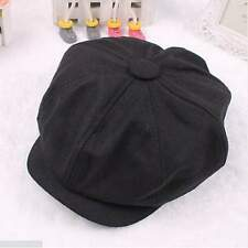 Black Cabbie Newsboy Gatsby Cap Mens Ivy Hat Golf Driving Winter Cold Flat Plain