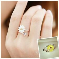 Small Fresh Yellow Daisy Flower And Crystal Ring Jewelry Women Girls For Gift