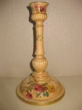 """Royal Worcester Floral Painted Blush Ivory Candlestick. C.1910. 8""""."""