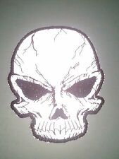 "(UU) Small Reflective CRACKED SKULL 3"" x 3.75"" iron on patch (3169) Biker"
