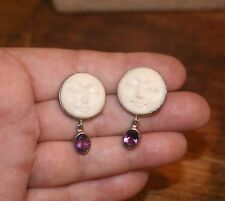 Moon Face Goddess Post Earrings w/Amethyst Dangles SIGNED!