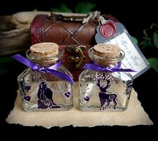 Hand Painted Stag & Hare Potion Bottle Chest set Wiccan Pagan Altar Handfasting