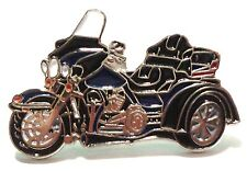 Blue & Black Trike 3 Wheeled Bike Biker Motorcycle Motorbike Metal Enamel Badge