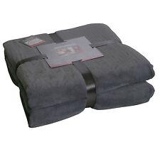 Flanell Decke Mircofaser Flausch 150x200 cm Kuscheldecke Wohndecke antra/grau