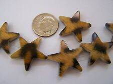"24"" Strand (35 pcs) Brown Animal Leopard Cat Print Star Shape Acrylic Beads"