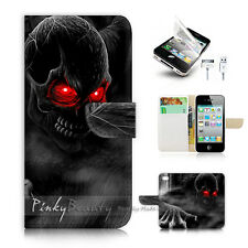 iPhone 4 4S Print Flip Wallet Case Cover! Horror Skull P0523