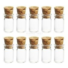 10x Cute Mini Glass Bottles with Cork Stopper Wishing Bottle Vials Jars 22x11mm