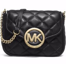 NEW MICHAEL KORS FULTON MK GOLD BLACK LEATHER SMALL CROSSBODY BLACK BAG