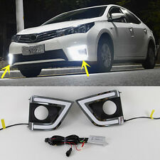 1 Pair White LED Daytime Fog Light DRL Light For Toyota Corolla 2014-2015