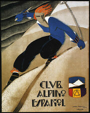 SPANISH ALPINE CLUB SKI DOWNHILL SKIING SPAIN 8X10 VINTAGE POSTER REPRO FREE S/H
