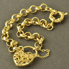 Charm 9K Yellow Gold Filled WOMENS Openwork Heart Chain Bracelet 8.7 INCH