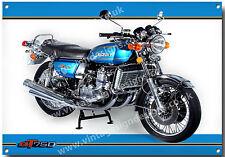 SUZUKI GT 750 MOTORCYCLE METAL SIGN.VINTAGE SUZUKI MOTORCYCLES.CLASSIC BIKES.blu