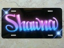 Custom License Plate Car Tag Personalized w/ Your Name Airbrush Hot Pink Neon