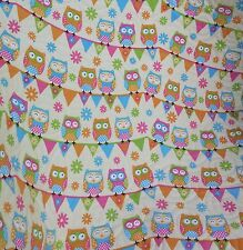 Handmade Bassinet, stroller, play mat  cotton quilt coloured owls on bunting
