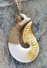Maori Matau (Hook) Bone Carving Pendant from New Zealand