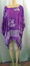TOP PONCHO PURPLE WHITE PALM TREE TUNIC COVER UP