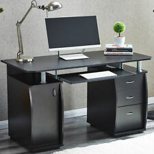 RayGar Deluxe Black Computer Desk With Cabinet and 3 Drawers for Home Office PC