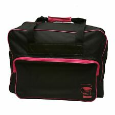 BLACK Sewing Machine CARRY BAG With FUCHSIA Coloured Lining-Zip Up Front Storage