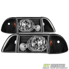 Black 1987-1993 Ford Mustang Headlights w/Corner Signal Lights Parking Lamps Set