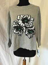 New $118 French Connection Beaded Drop Shoulder Cotton Knit Sweater sz L