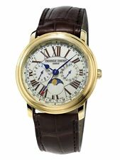 Frederique Constant Business Timer MoonPhase Leather Mens Watch FC-270EM4P5