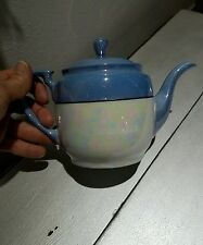 Vintage Noritake Ware Tea Pot Kettle Luster Blue Lustre Iridescent White Japan