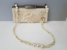 Vintage Mary Frances Simulated Beaded Pearl Evening Bag Clutch