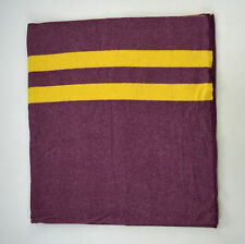"""Vintage Yellow & Purple Striped Thick Fuzzy Wool Afghan Throw Blanket 72"""" x 77"""""""