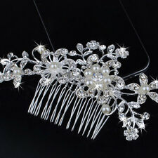 Wedding Women's Bridal Jewellery Rhinestone Crystal Flower Pearl Hair Comb Clip