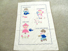 Antique Vintage Nursery Rhyme Baby Crib Quilt Applique Embroidered Boy or Girl