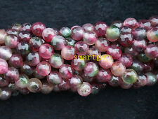Natural New 6mm multicolor tourmaline gemstones faceted loose beads 15''