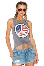 NWT $60 Chaser LA Peace Sign USA American Flag Tie Up Muscle Tank Top sz M