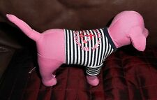 "Victoria's Secret Pink Dog PORT AU PINK Navy Blue & White Shirt 8"" Plush EUC"