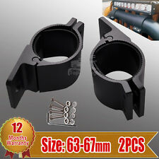 "2x 2.6"" 63-67mm Offroad Bull Bar Mount Brackets Clamps 4x4 LED Work Light Holder"