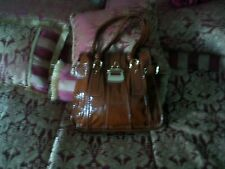 Women's Handbag,  Brown Patent Faux Ostrich  Hanbag, By Linear Unused Condition