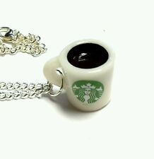 Coffee cup mug necklace silver plated chain 18 inch kawaii