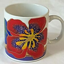 Laurel Burch Coffee Mug Wild Hibiscus Red Purple Tropical Flower Gold Trim Cup