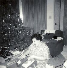 Vintage Real Photo- Christmas Tree- Heavy Set Woman- Opens Presents- 1940s-50s