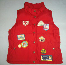 RALPH LAUREN VINTAGE STYLE SKI VEST PATCHES Red Orange Reversible Puffy Lodge RL