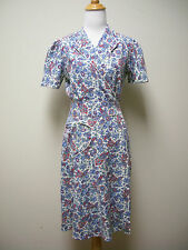 Vintage 1940s Handmade Homemade Wrap Front Cotton Print Day Dress Size S