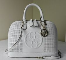 Guess Korry White Perforated Saffiano Large Dome Satchel