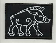 Celtic boar embroidered patch, dimensions 3,2 X 2,4 INCH