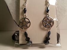 Silver Tone & Black Glass Bead Pentagram Star Earrings -Halloween Gothic Jewelry