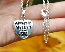 ".925 Sterling Silver NECKLACE ""Always in My Heart"" Paw Print Pendant Cat Dog Pet"