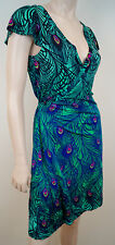 MATTHEW WILLIAMSON H&M Bright Colour Peacock Print Sleeveless Wrap Dress Sz;S